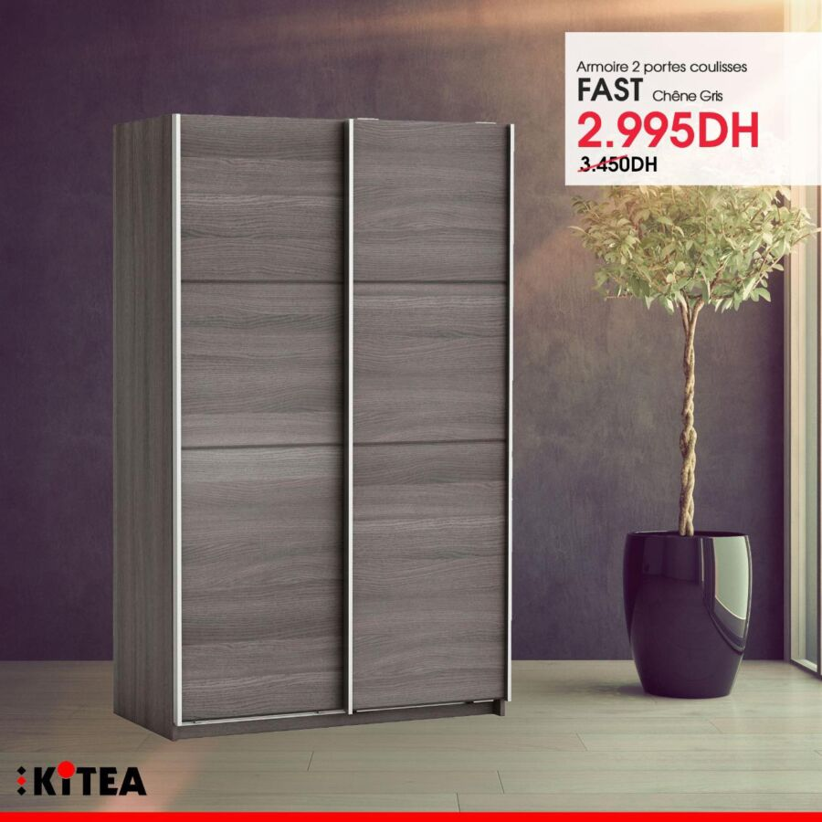 Soldes chez Kitea Armoire 2 portes coulisses FAST 2995Dhs au lieu de 3450Dhs