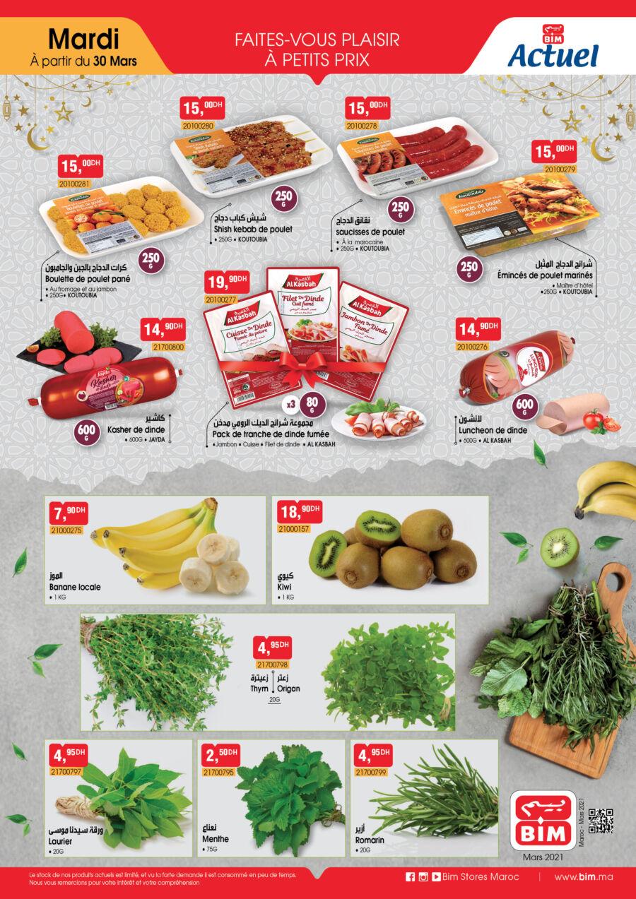 Catalogue Bim Maroc Frais et légumes à partir du Mardi 30 Mars 2021