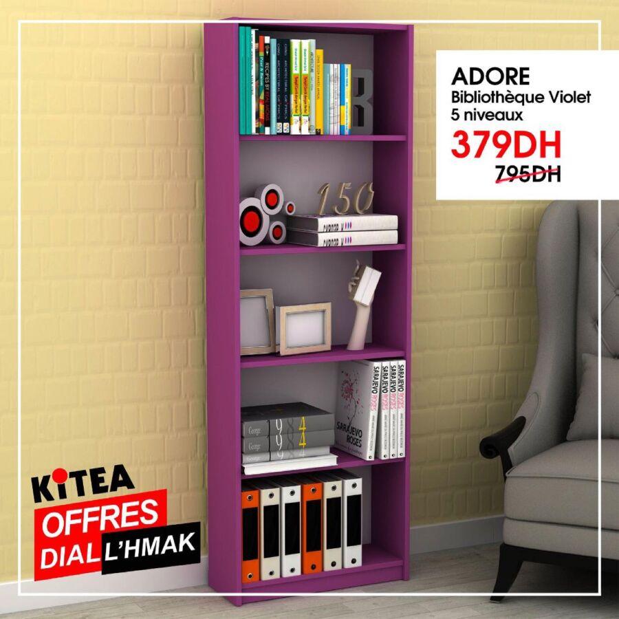 Soldes Kitea Bibliothèque violet 5 niveaux ADORE 379Dhs au lieu de 795Dhs