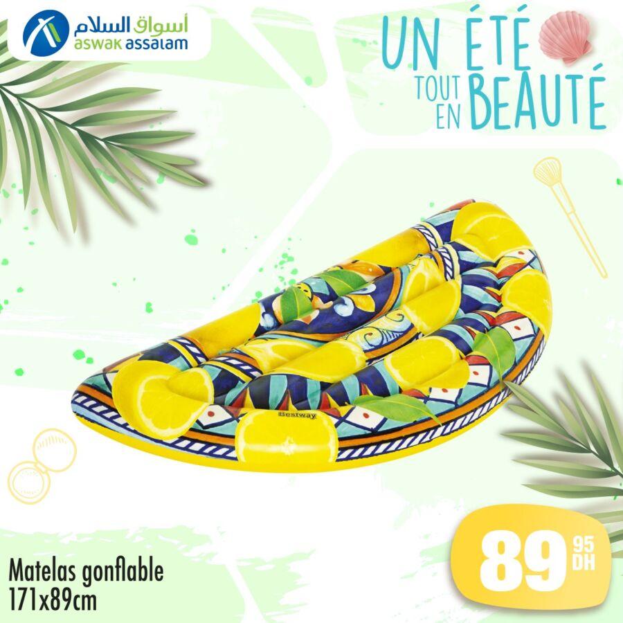 Offres d'été chez Aswak Assalam Matelas gonflable divers modèles à partir du 89Dhs