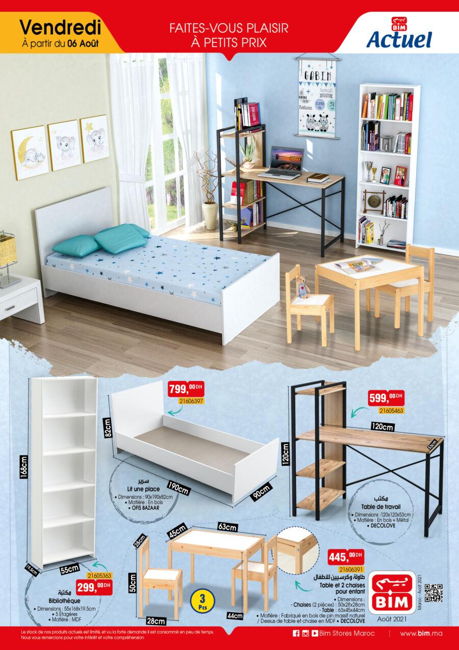 Catalogue Bim Maroc Mobilier Chambre pour enfant du Vendredi 6 août 2021