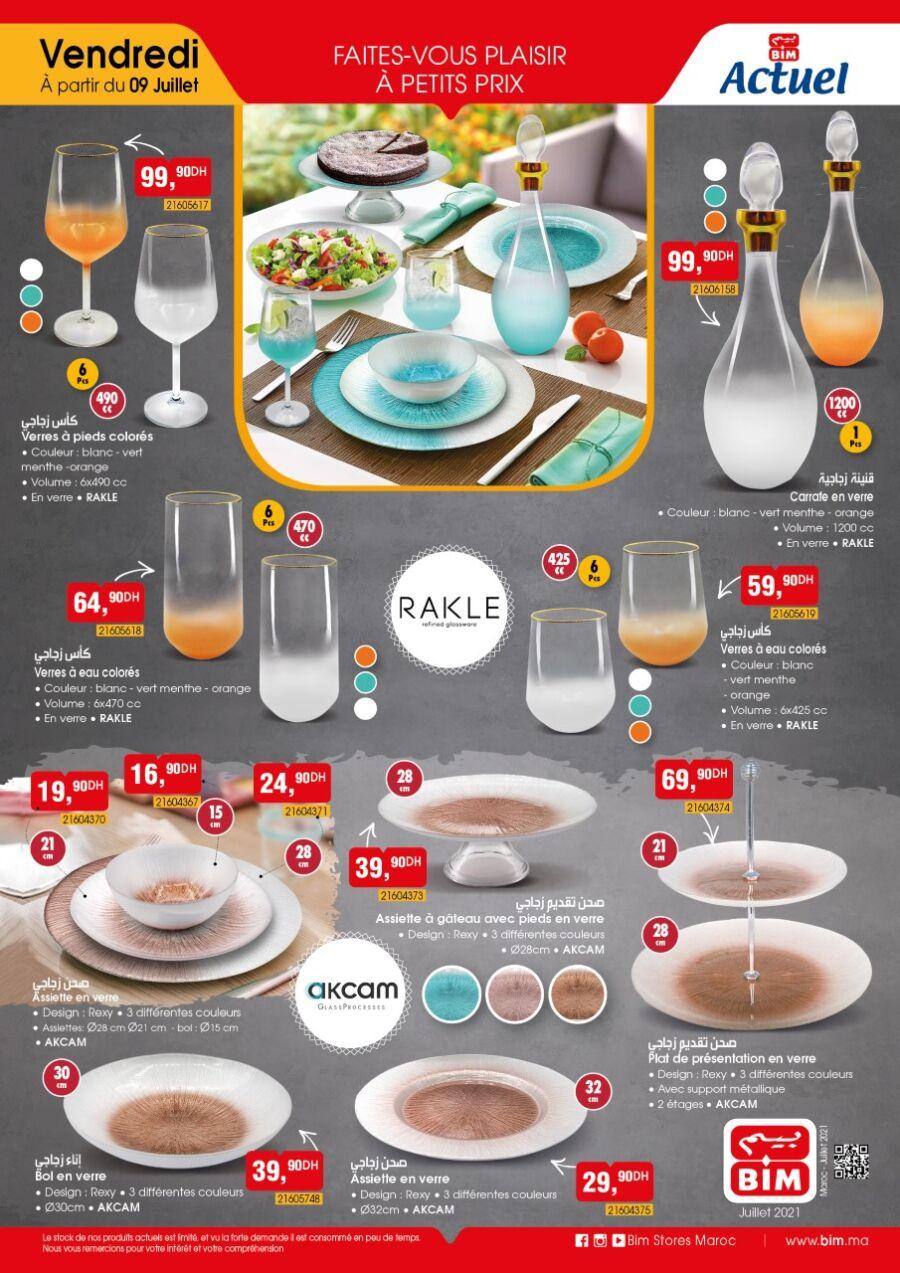 Catalogue Bim Maroc Spécial Art de table en verre du vendredi 9 juillet 2021