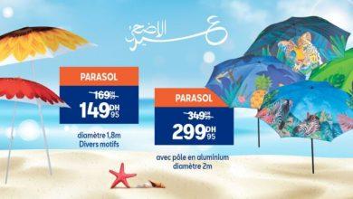 Soldes Aswak Assalam Parasol divers motifs à partir de 149Dhs au lieu de 169Dhs عروض اسواق السلام September 2021
