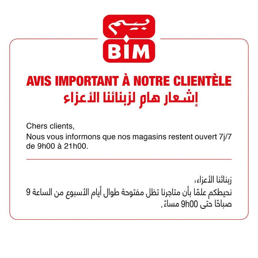 Nouvelle horaires chez les magasin Bim Maroc à partir du 3 août 2021