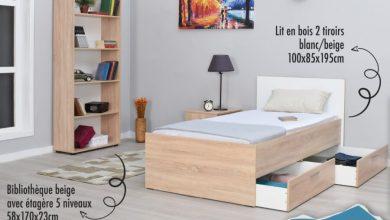 Soldes Aswak Assalam Lit en bois 2 tiroirs 1299Dhs au lieu de 1499Dhs عروض اسواق السلام October 2021