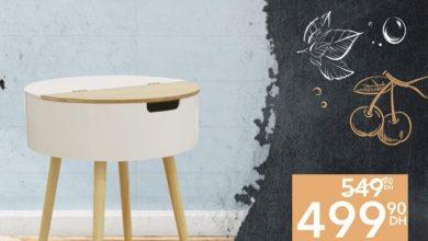 Soldes Aswak Assalam Table en blanc et bois avec coffre 499Dhs au lieu de 549Dhs عروض اسواق السلام October 2021
